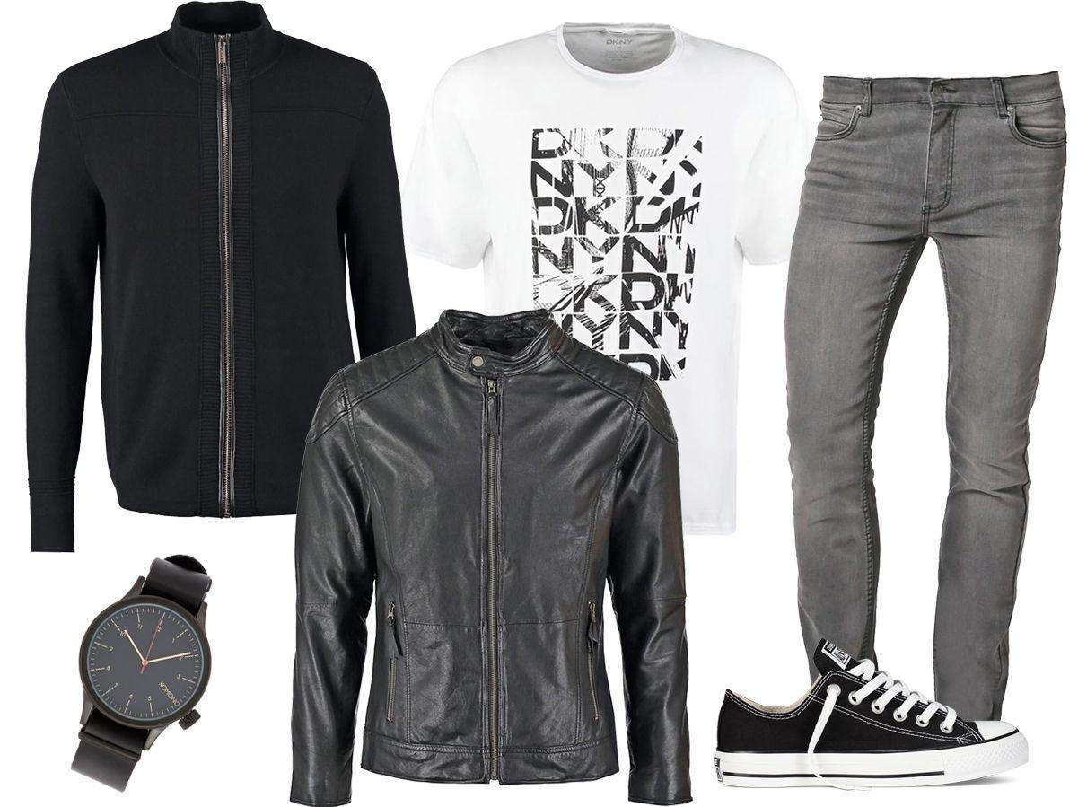 72bda89c T-skjorte – Grå jeans – Svarte Converse – Skinnjakke – Svart genser – Klokke