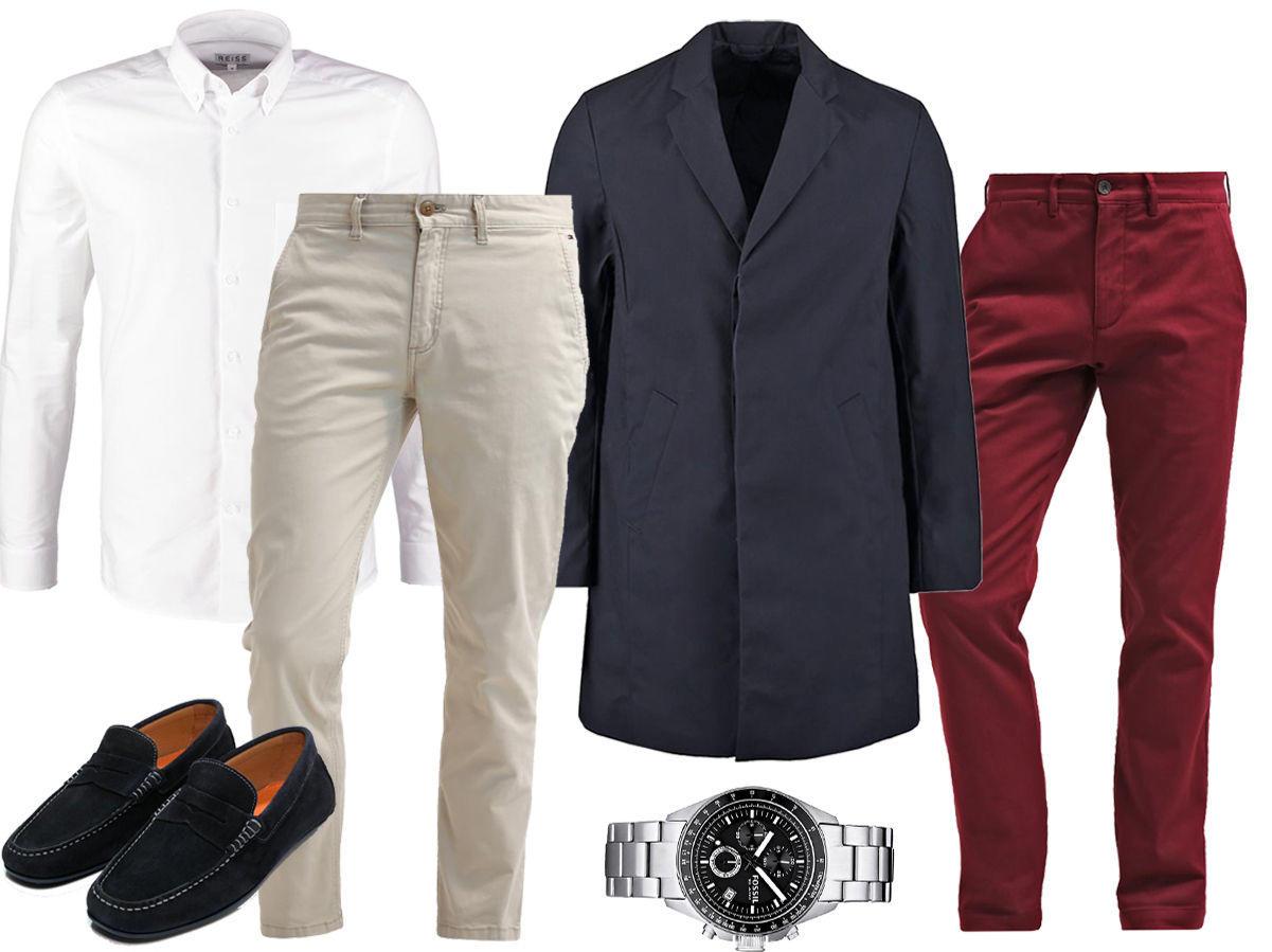ff62d94d Rød chinos – Hvit skjorte – Klokke – Mokkasiner – Beige chinos – Blå frakk