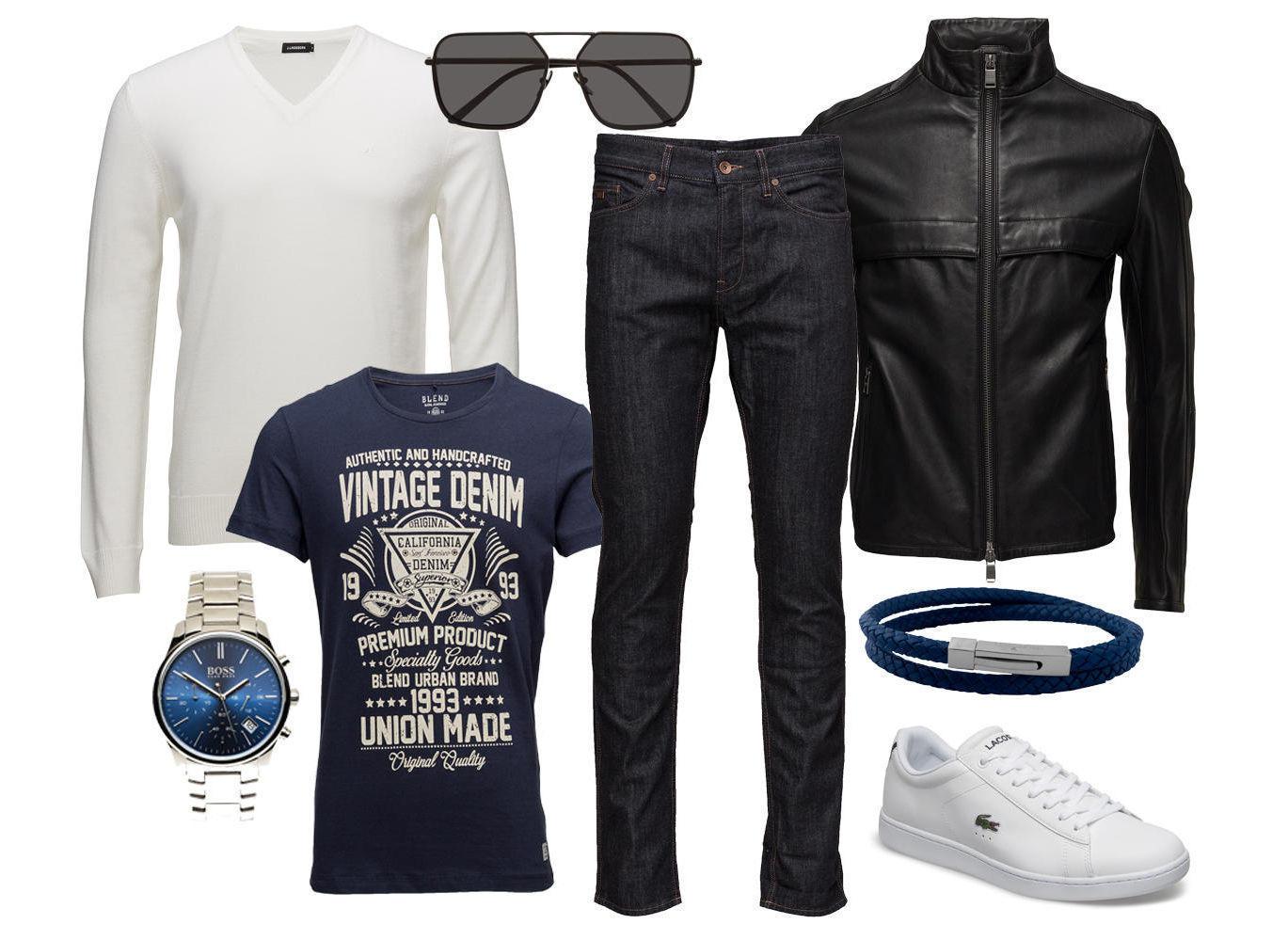 2329a542 Fra venstre: Genser – Klokke – T-skjorte – Solbriller – Jeans – Skinnjakke  – Armbånd – Sneakers