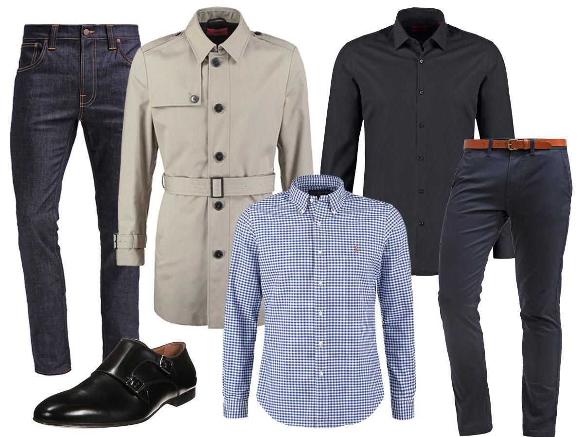 74afeddf Rutete skjorte – Svart skjorte – Blå chinos – Blå jeans – Trenchcoat –  Sorte pensko